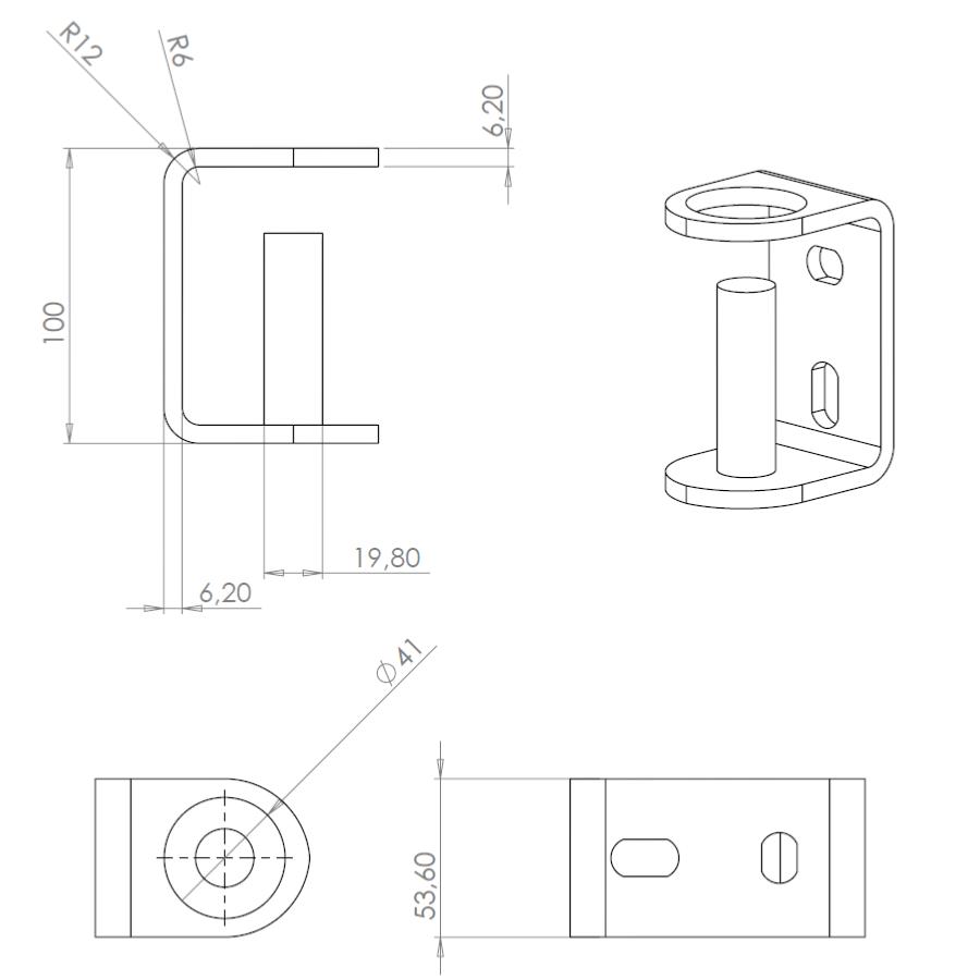 platine de fixation lat rale pour poteau garde corps sural france. Black Bedroom Furniture Sets. Home Design Ideas