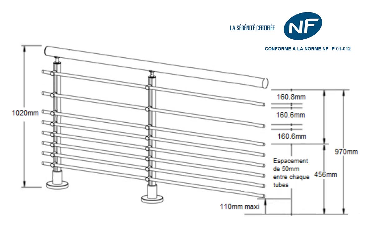kit complet garde corps 8 tubes horizontaux sural france. Black Bedroom Furniture Sets. Home Design Ideas