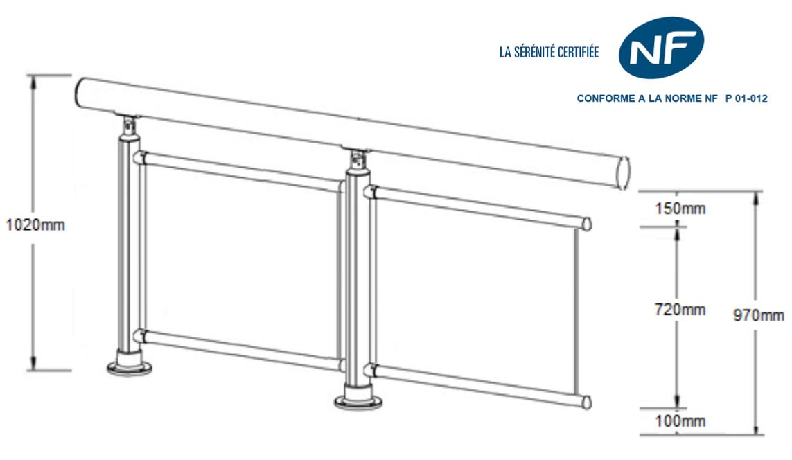 kit complet 2 m tres d s le ml garde corps 5 tubes horizontaux sural france. Black Bedroom Furniture Sets. Home Design Ideas
